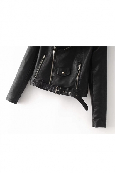 Simple Plain Notched Lapel Long Sleeves Zippered Biker Jacket with Buttons