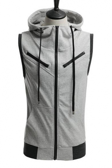 Simple Plain Zippered Sleeveless Hooded Vest with Drawstring & Pockets