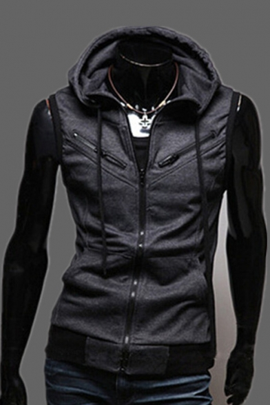 Sleeveless Zippered Plain with Simple Vest amp; Pockets Hooded Drawstring qaE55wZ1d