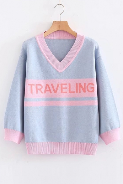 15640df01 Stylish Color Block V Neck Letter Long Sleeve Pullover Sweater ...