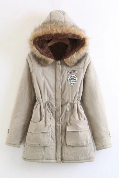 Stylish Letter Applique Drawstring Waist Zippered Faux Fur Trimmed & Padded Long Coat with Hood & Pockets