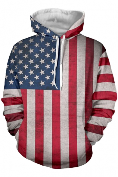 Flag Pullover Stripes Hoodie Sleeves Stars Pocket with Trendy Pattern Long ETwU7qP