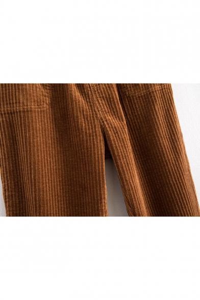 Vintage Simple Plain Elastic Waist Pants