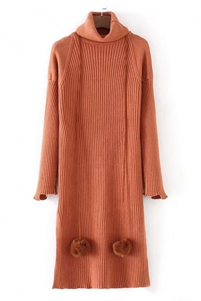 Warm High Neck Pom Pom Detail Long Sleeve Midi Sweater Dress