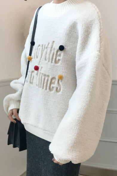 Pompoms Over Sleeves Sweater Sized Pattern with Collection Pullover Loose Long Winter Letter Crew Neck xO6qnfY8w