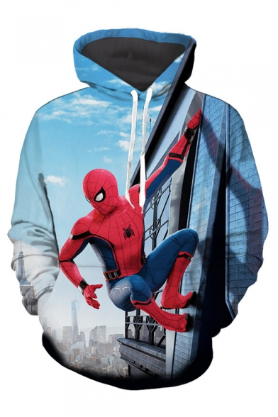 Superhero with Winter Sleeves Long Skyscraper Pocket Pullover Collection Printed Hoodie gw4q5C