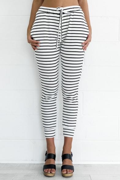 Купить со скидкой Casual Striped Pattern Drawstring Waist Cropped Slim-Fit Pants