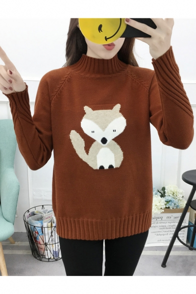 21d9fa41ff6d8 Chic Fox Applique Pattern High Neck Long Sleeve Casual Pullover Sweater ...