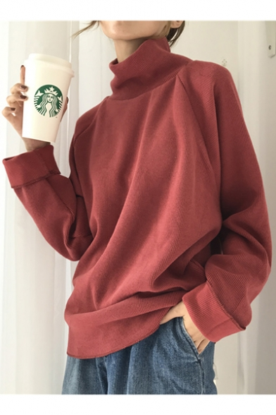 Pullover Chic High Loose Long Plain Sleeve Sweater Neck Simple pPaw0vpS