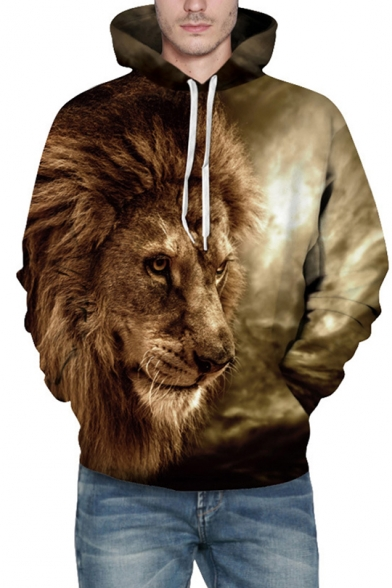 Cool Lion Pattern Long Sleeves Pullover Hoodie with Pocket