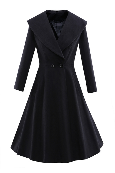 Fashionable Simple Plain Collared Long Sleeve Double Buttons Tunic Coat