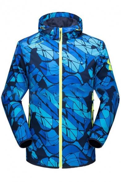 New Stylish Long Sleeve Zipper Hooded Color Block Print Windproof Coat