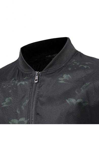New Stylish Print Long Sleeve Zipper Stand-Up Collar Jacket