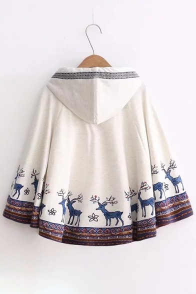 Pop Deer Floral Printed Tasseled Drawstring Hooded Batwing Sleeves Cape
