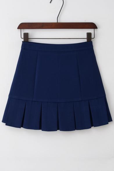 Simple Box Pleated Dropped Waist Plain Mini A-line Skirt with Pants Inside