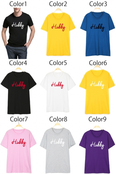 for Print Round Simple Tee Short Letter Sleeve Couple Neck 0OBBfq