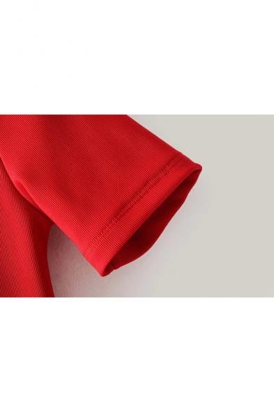 Simple Plain Crisscross V-Neck Short Sleeve Pencil Mini Dress