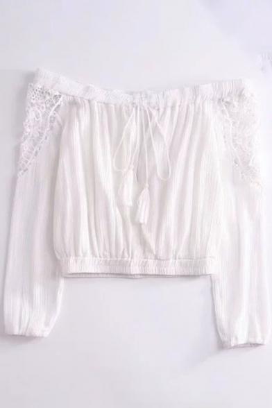 Long Blouse Sleeve Plain Shoulder Off Cropped Crochet Simple FtwRqaCxc