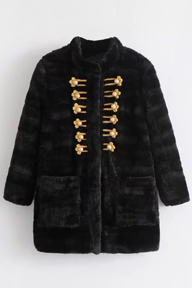 Simple Plain Stand-Up Collar Long Sleeve Faux Fur Coat