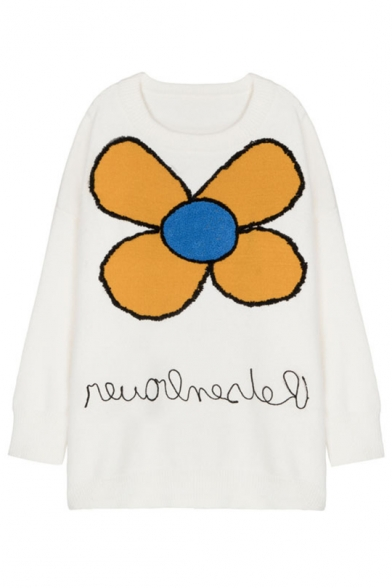 Long Stylish Sleeve Sweater Floral Neck Round Applique Comfortable 8Iw7rq0I