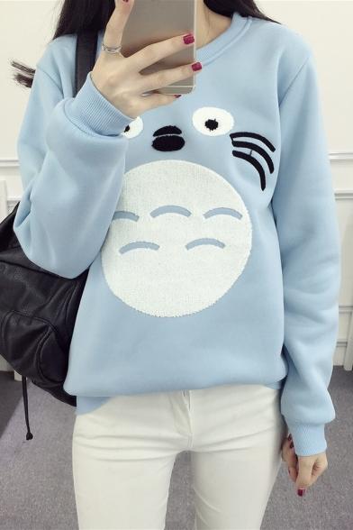 Adorable Cartoon Embroidery Round Neck Long Sleeve Leisure Pullover Sweatshirt