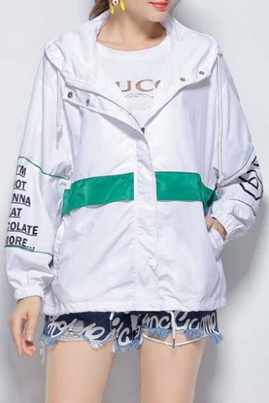 Jacket Pockets Casual with Zippered Pattern Letter Hooded amp; Waist Loose Drawstring Elastic ZqAc06zq74