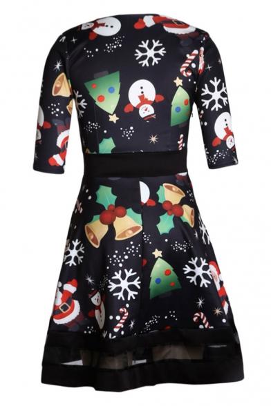 Print Dress Half A Patchwork Sleeve Hem Mini Chic Elements Christmas line A1wqXxnEvf
