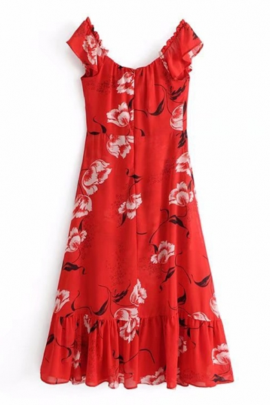 Classic Floral V Neck Frill Sleeve Midi A-line Dress