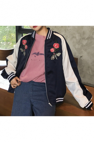 Color Block Floral Embroidered Stand-Up Collar Long Sleeve Baseball Jacket