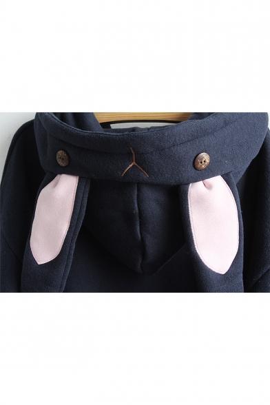 Pocket with Sleeve Cute Long Rabbit Ear Pattern Hoodie Hood Rabbit cggqTPI