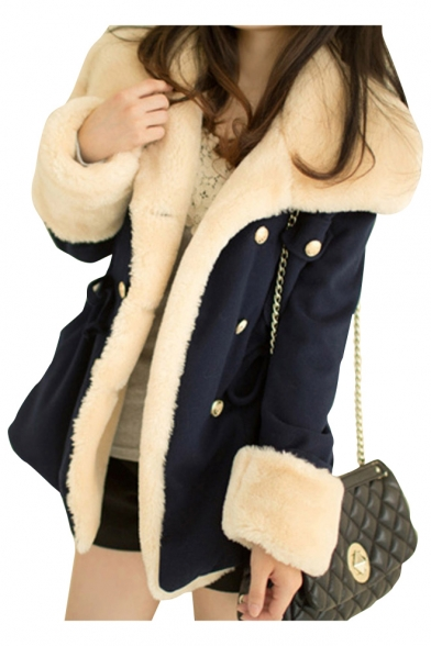 Elegant Faux Fur Padded Cuffs Long Sleeves Double Breasted Drawstring Waist Coat with Pockets