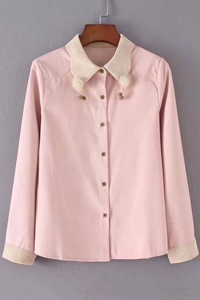 Pompom Collar Down Shirt Button Embellished Point Sleeves Long Elegant SpqwBB
