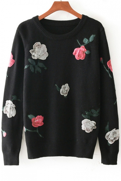 Sweater Floral Neck Embroidered Sleeve Round Pullover Long wwnY0rx
