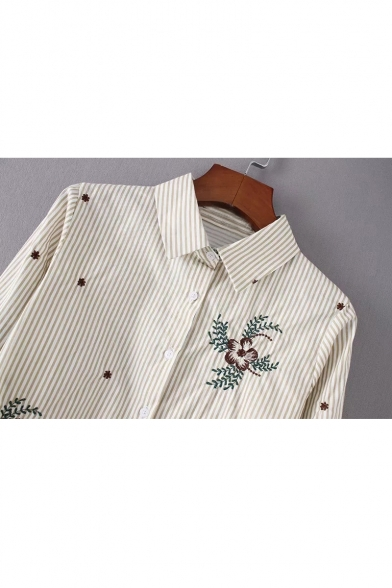 Lapel Striped Embroidered Floral Long Sleeve Down Shirt Buttons wP7BEq
