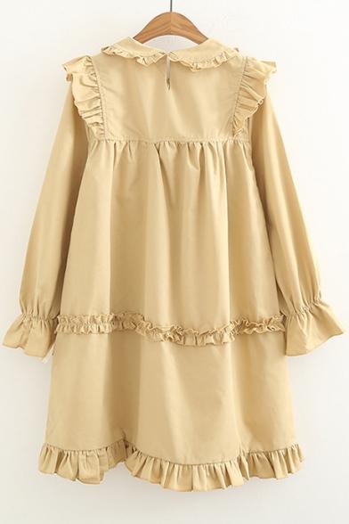 Ladylike Collared Ruffle Hem Button & Bow Detail Midi Smock Dress
