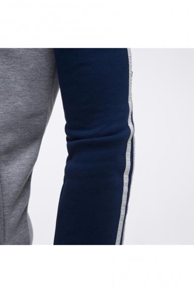 Leisure Color Block Print Raglan Sleeve Zip Up Hooded Coat