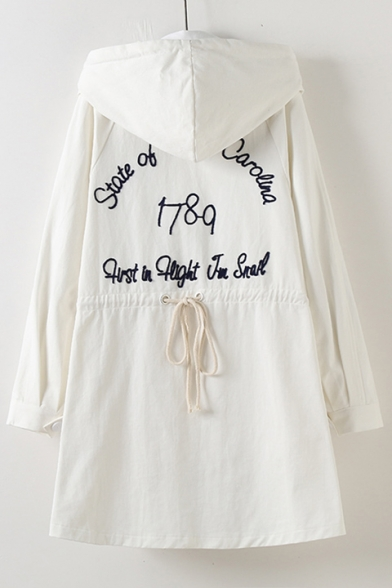 Leisure Letter Embroidery Elastic Waist Drawstring Hooded Long Trench Coat with Pockets