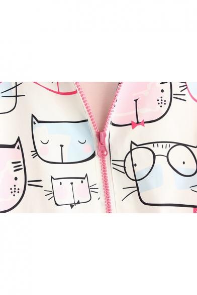 Lovely Cartoon Cat Print Long Sleeve Zip up Hooded Dip Hem Coat