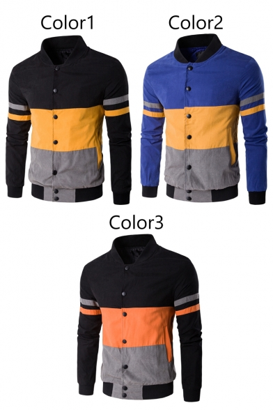 Color Fashion Jacket Long Sleeves Pockets with Baseball Down Men's Button Block Striped wqd5ZzUC