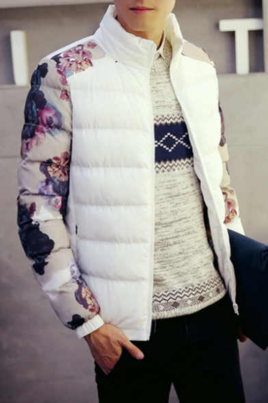 Peasant Style Floral Pattern Long Sleeves Zippered Quilted Men's Coat