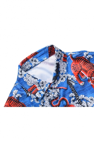 Popular Tiger Floral Printed Point Collar Long Sleeves Button Down Shirt