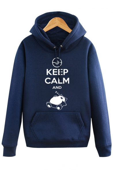 Simple Monster Letter Printed Long Sleeves Pullover Hoodie with Pocket