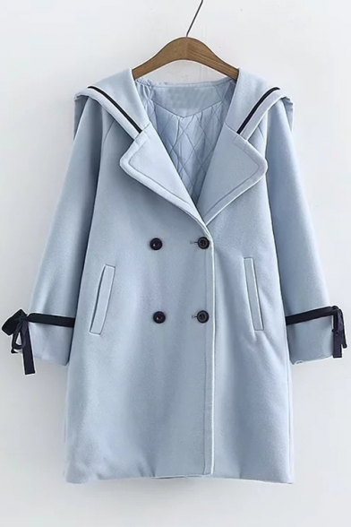 Stylish Bow Tie Cuff Long Sleeve Double Breasted Tunic Coat