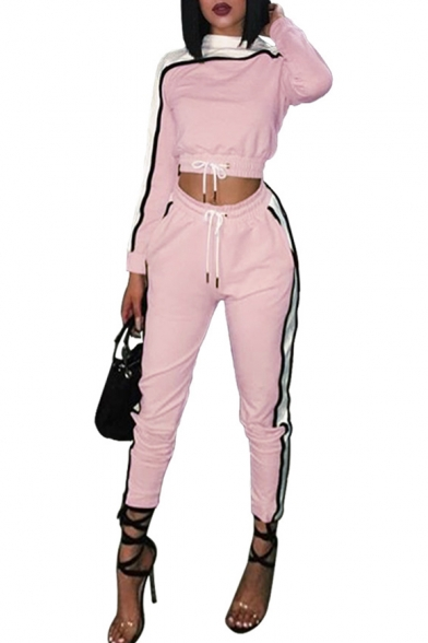 Stylish Contrast Neck Drawstring Waist Cropped Sweatshirt with Elastic Waist Color Block Fit Joggers