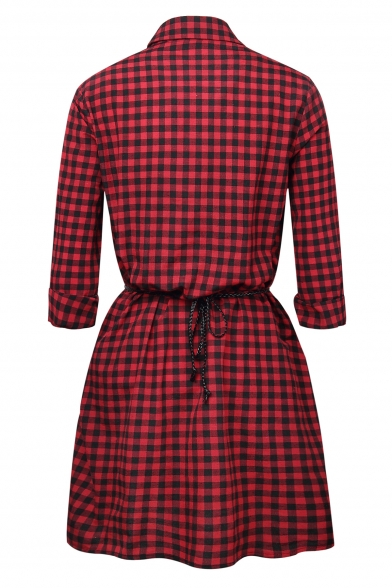 Down Sleeve Waist Stylish Shirt Tie Long Lapel Plaid Button Dress CXtqF