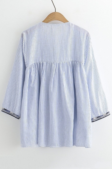 Stripe Contrast Long Smock Hem Drawstring Blouse Neck Stylish Sleeve O7q6PP