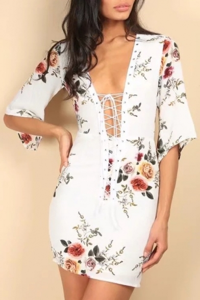 Summer's Fashion Half Sleeves Plunge Neck Attached Lacing Floral Pattern Bodycon Mini Dress
