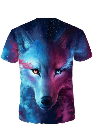 3D Wolf Tee Color Short Printed Block Sleeves Trendy Summer Casual wxEz7
