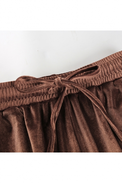 Casual Cropped Bandeau Elastic Drawstring Waist Striped Side Velvet Loose Co-ords