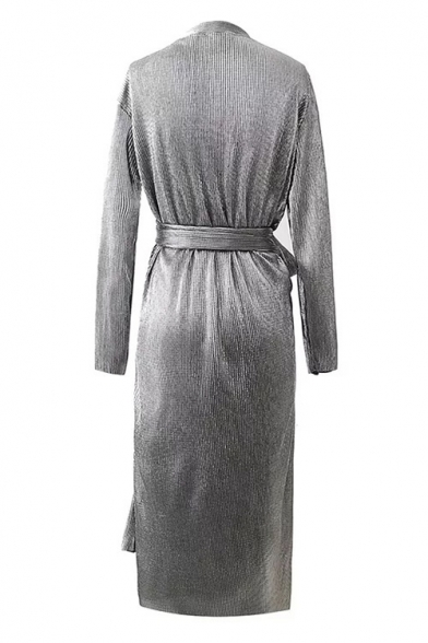 Midi Bow Wrap Sleeves Tie Neck Belted Pencil Casual Plain V Dress Long wvq7g8t8I